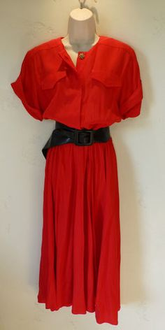 Vintage 80s Red Shirt Dress Blouson Large Gown Nina Piccalino Safari No Reserve | eBay On auction starting at $0.99 with no reserve!   Bid now!