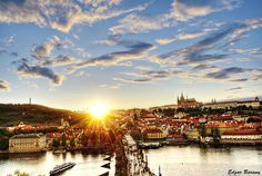 Sunset at Charles Bridge, Vltava River and Castle, Prague