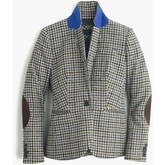 J.Crew Campbell Blazer (£215) ❤ liked on Polyvore featuring outerwear, jackets, blazers, petite blazers, plaid wool jacket, slim blazer, wool jacket and petite jackets