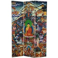 Reproduced in stunning color from the Tibetan original, this room divider depicts the Buddha meditating beneath the Bodhi tree at the exact moment he achieved enlightenment. Beset on all sides by powerful demons representing desire, doubt, temptation, and other distractions, the Buddha defeats them all with focus and concentration. Left hand held still in meditation, with his right hand he calls upon the earth itself to bear witness to his triumph. Printed on a 6ft tall room divider screen.