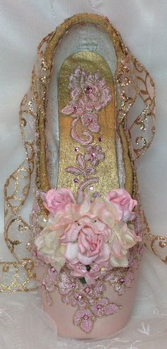 I Pair of Pink and Gold decorated pointe shoe.   by DesignsEnPointe on Etsy https://www.etsy.com/listing/450241588/i-pair-of-pink-and-gold-decorated-pointe