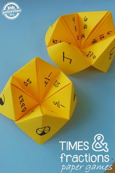You know those paper fortune tellers? It is time to introduce my kiddos to the joy of Cootie catchers – while reviewing math lessons. We made two paper games, one to review fractions and another to review times tables.