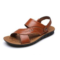 Men Summer Sandals Comfortable Breathable Beach Outdoor Casual Leather Flats Sandals Shoes