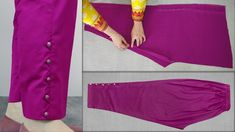 Capri Pants Capri Trouser Cutting And Stitching Easy Tutorial Salwar Pattern, Gown Pattern, Pants Pattern, Dress Neck Designs, Blouse Neck Designs, Salwar Pants, Pants Tutorial, Capri Trousers, Sleeves Designs For Dresses