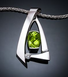 Argentium silver, peridot and diamond pendant designed by David Worcester for VerbenaPlaceJewelry.Etsy.com