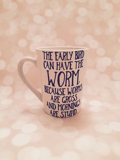 The early bird can have the worm mug coffee mug tea Sale Fathers Day gift teacher appreciation gift worms are gross ceramic white navy blue by CreationsbySAHM on Etsy