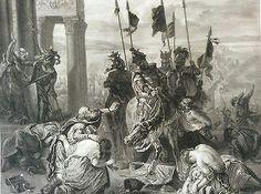 Turquie Prise de Constantinople par les croisés lithographie Delacroix Circ 1880