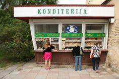 Kiosk selling Lithuanian baked goods.