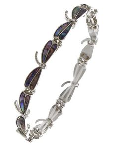 """Abalone and silver tone dragonfly stretch bracelet. WIDTH : 3/8"""""""