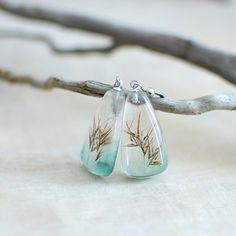 Pressed botanical resin earrings, nature lover gardener gift, preserved specimen - coastal grass