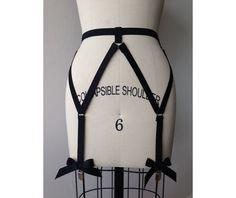 Black gothic fetish burlesque garter belt bra harness set lingerie 3