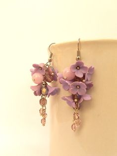 #Lilac earrings  #Flower #earrings  Lilacs  Dangle by insoujewelry