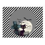 Lone Black Cat in Graveyard with Full Moon Bats Postcard #halloween #happyhalloween #halloweenparty #halloweenmakeup #halloweencostume