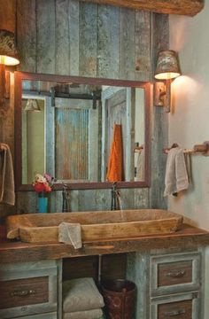 Rustic Bathroom. Love Jared Viar says this located in Yellowstone Club private residence of a fantastic Hedge fund family a stunning cabin retreat