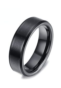 This style is a flat pipe-cut shape black tungsten wedding band with a brush finished center, and polish finished beveled edges. This simply beautiful black ring can be worn as a Wedding Band or Engagement Ring by men or women and is available in 6mm and 8mm wides, making it perfect for couples who want a matching set.