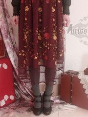 lace embroidery long skirt in wine red