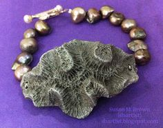 Chic seashore bracelet made by Susan M. Brown {sbartist} from a cast piece of coral using Amazing Mold Putty and Amazing Casting #Resin and Alumilite metallic powders. http://amazingmoldputty.com/