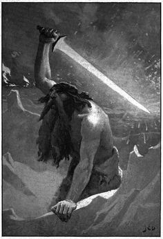 The giant with the flaming sword - J. C. Dollman.