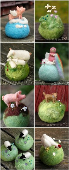 Tiny felted worlds! needle felting animals and landscapes.