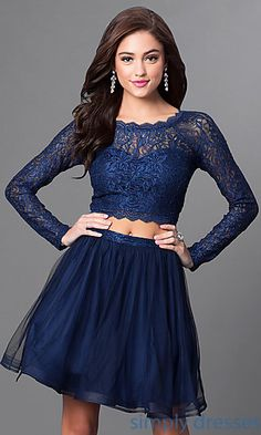 Shop short navy blue party dresses at Simply Dresses. Cheap two-piece dresses with long-sleeved lace tops and short tulle skirts for homecoming.