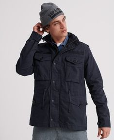 Buy Superdry Rookie Field Jacket from the Next UK online shop Military Field Jacket, Bomber Jacket Men, Hoodie Jacket, Rain Jacket, Superdry Jackets, Superdry Mens, Badge, Mens Back, Cotton Fields