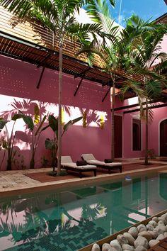 Exterior Pool at the Rosas & Xocolate Boutique Hotel and Spa in Mexico Murs Roses, Mexico Honeymoon, Spa Design, Patio Design, Design Ideas, Design Projects, Honeymoon Destinations, Mexico Destinations, Tulum