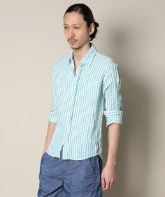 BAYFLOW/リネンストライプシャツ