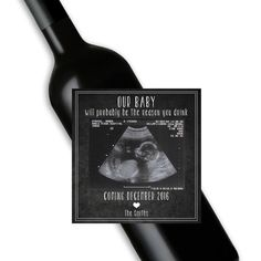 Funny pregnancy announcement wine bottle by WithaTwistLabelingCo