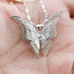 CS-DB 2 PCS 9K White Gold Plated Butterfly Necklace PendantWomen Lady Girl Sterling � Friendly Faces