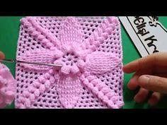 Bobble Crochet, Crochet Mat, Granny Square Crochet Pattern, Crochet Squares, Crochet Stitches, Crochet Flower Tutorial, Crochet Flowers, Baby Knitting Patterns, Crochet Patterns