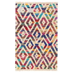 Handmade, fair trade Baku Diamond Chindi Rugs is hardwearing and is made from fabric remnants woven with cotton. Made in India.