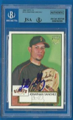 JONATHAN SANCHEZ Signed 2006 Topps 52 BGS JSA Royals Giants Rockies Autographed by Signed Trading Card. $29.99. Up for sale is a Kansas City Royals, San Francisco Giants, and Colorado Rockies great Jonathan Sanchez autographed 2006  Topps 52 card #116. Slabbed by Beckett and authenticated by JSA. Nice Jonathan Sanchez blue sharpie signature.