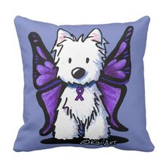 KiniArt Westie Lupus Awareness Throw Pillow - home gifts ideas decor special unique custom individual customized individualized