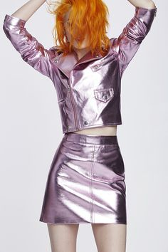 Inspired by fashion-forward street style, functional sportswear and London's gritty underground art, music and culture scene, this UK-based fashion label knows how to party. Grunge Fashion, Pink Fashion, Runway Fashion, Fashion Outfits, Glam Rock, Winx Club, Metallic Jacket, Rainbow Outfit, Fashion Books