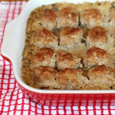 Baked Meatballs with Rice and Gravy #easy #casserole
