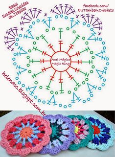 52 Ideas Crochet Mandala Diagram Charts For 2019 Crochet Mandala Pattern, Crochet Circles, Crochet Blocks, Crochet Diagram, Crochet Chart, Crochet Squares, Crochet Stitches, Crochet Patterns, Granny Squares