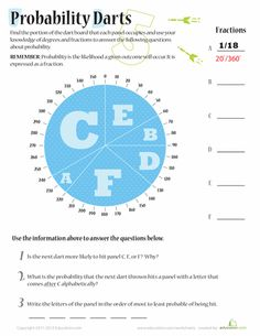 Help your fifth grader understand probability with this worksheet that challenges her to find the probability of a certain event in a handful of scenarios. Probability Worksheets, Math Fractions, Geometry Lessons, Math Lessons, Ap Statistics, Too Cool For School, Middle School, 7th Grade Math, Secondary Math