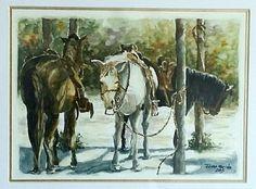 Cavalos - Aquarela