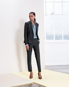 J.Crew women's italian stretch suit and chambray shirt. To preorder call 800 261 7422 or email erica@jcrew.com.