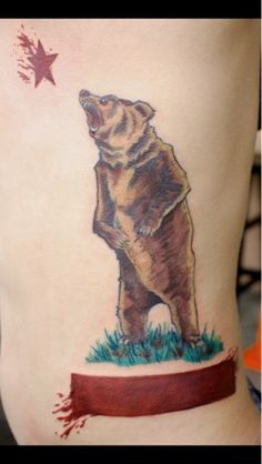 Roaring Grizzly Bear Flag Tattoo | Bear Flag Museum