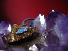 Blue Kyanite orgonite pendant for chakra attunement by Orgoknights, $33.00