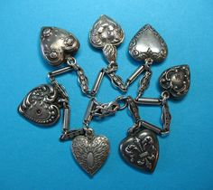 Victorian Sterling Puffy Hearts Charms & Bracelet - Two French Hearts