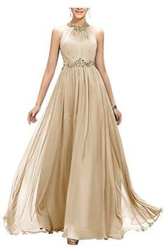 Ellames Beaded Long Chiffon Bridesmaid Dress Jewel Prom Evening Dress  Champagne US 10  gt  gt d9e113921527