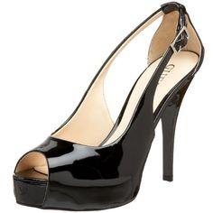 GUESS Women's Hondo3 Peep-Toe Pump,Black Patent,9 M US