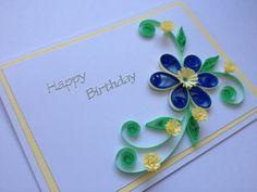 Happy Birthday Quilled Card Blue Hyacinths by Joscinta on Etsy, £5.00