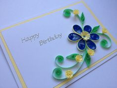 Happy Birthday Quilled Card Blue Hyacinths by Joscinta on Etsy, £5.00