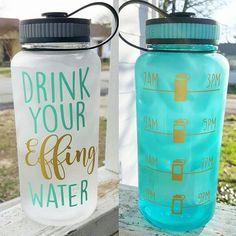 CLEAR Drink Your Effing Water Inspirational by HulseyHandmade                                                                                                                                                                                 More