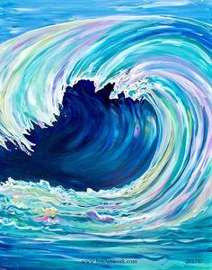 """Rainbow Wave"" Original Hand Painting by Jen Callahan - Jen Callahan Artwork - ""Original Life in Color Artist""™ Easy Paintings, Original Paintings, Painting & Drawing, Painting Prints, Art Print, Art Abstrait, Art Techniques, Land Scape, Painting Inspiration"