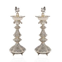 Silver Peacock Diya with Antique Finishing Diya Designs, Rangoli Border Designs, Silver Lamp, Silver Trays, Indian Lamps, Silver Charms, Silver Jewelry, Silver Pooja Items, Pooja Room Design