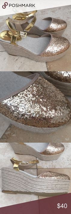 Gold Sparkle Espadrille Platform Wedges Brand new, never worn. Add a little sparkle to your step! Bamboo Shoes Wedges